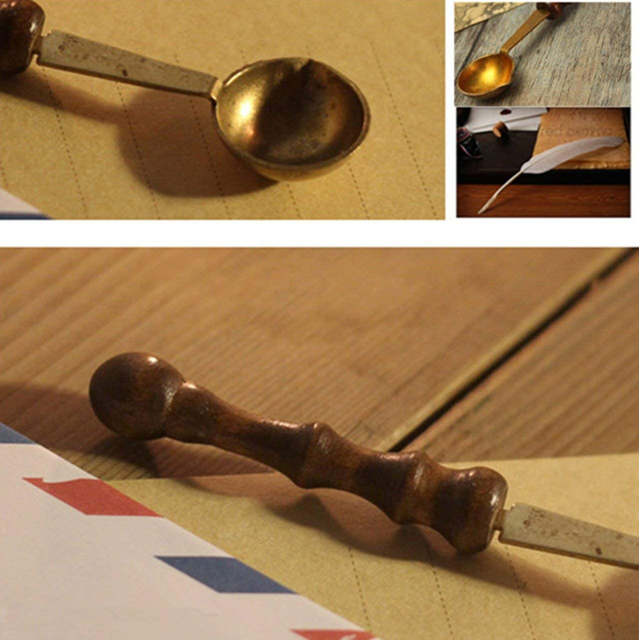 Jasnyfall Vintage Wood Handle Spoon Anti-hot Stamp Seal Sealing Wax Brass Spoon Gold