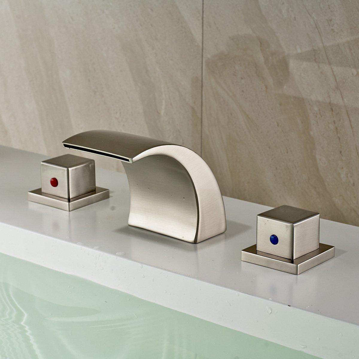 Waterfall Bathroom Faucet | Rozin Widespread 3 Holes Waterfall Bathroom Basin Faucet Double