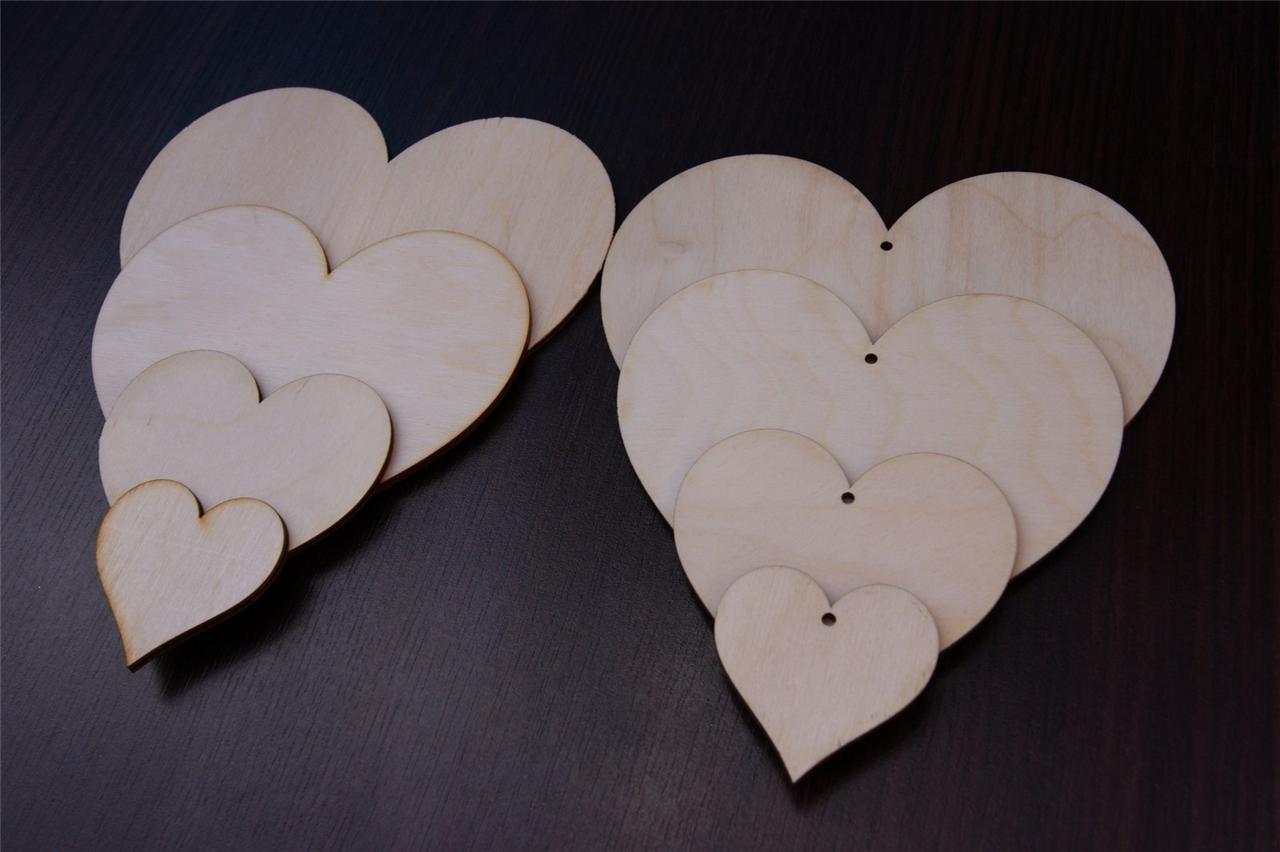 50 x 15 x 15cm - Hölzerne Herzenform Herz Herzen Form Decoupage glatt Gestalt Handwerk - ohne Loch!