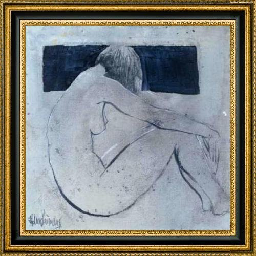 """Studies from the nude II by Heleen Vriesendorp - 30"""" x 30"""" Framed Premium Canvas Print"""