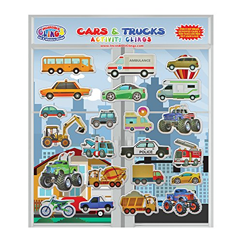 Cars & Trucks  Reusable Window and Wall Cling Puffy Car Stic