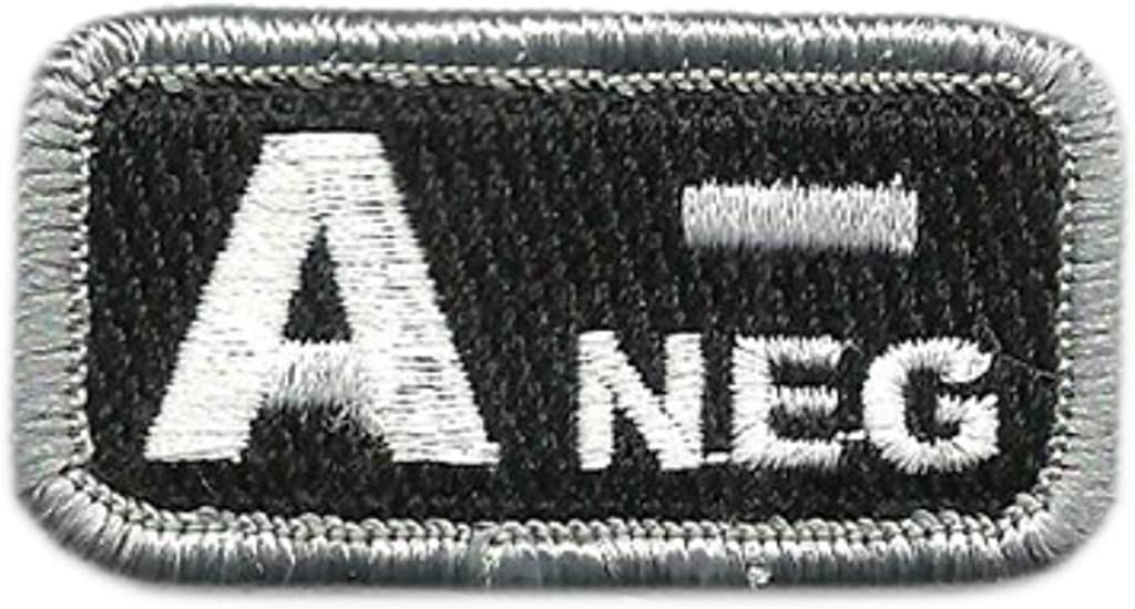 Negative Patch VELCRO BRAND Hook Fastener Compa Olive Green Black Blood Type A