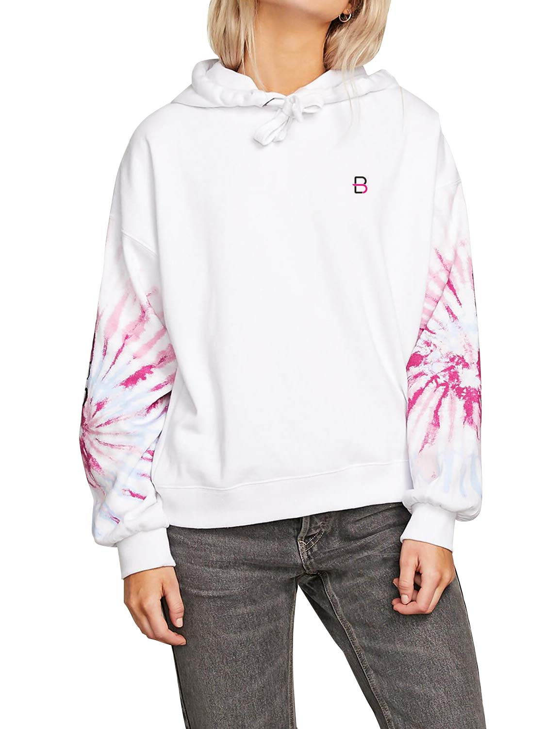 Blooming Jelly Womens Long Sleeve Tie Dye Ribbed Pullover Sweatshirt Hoodies White