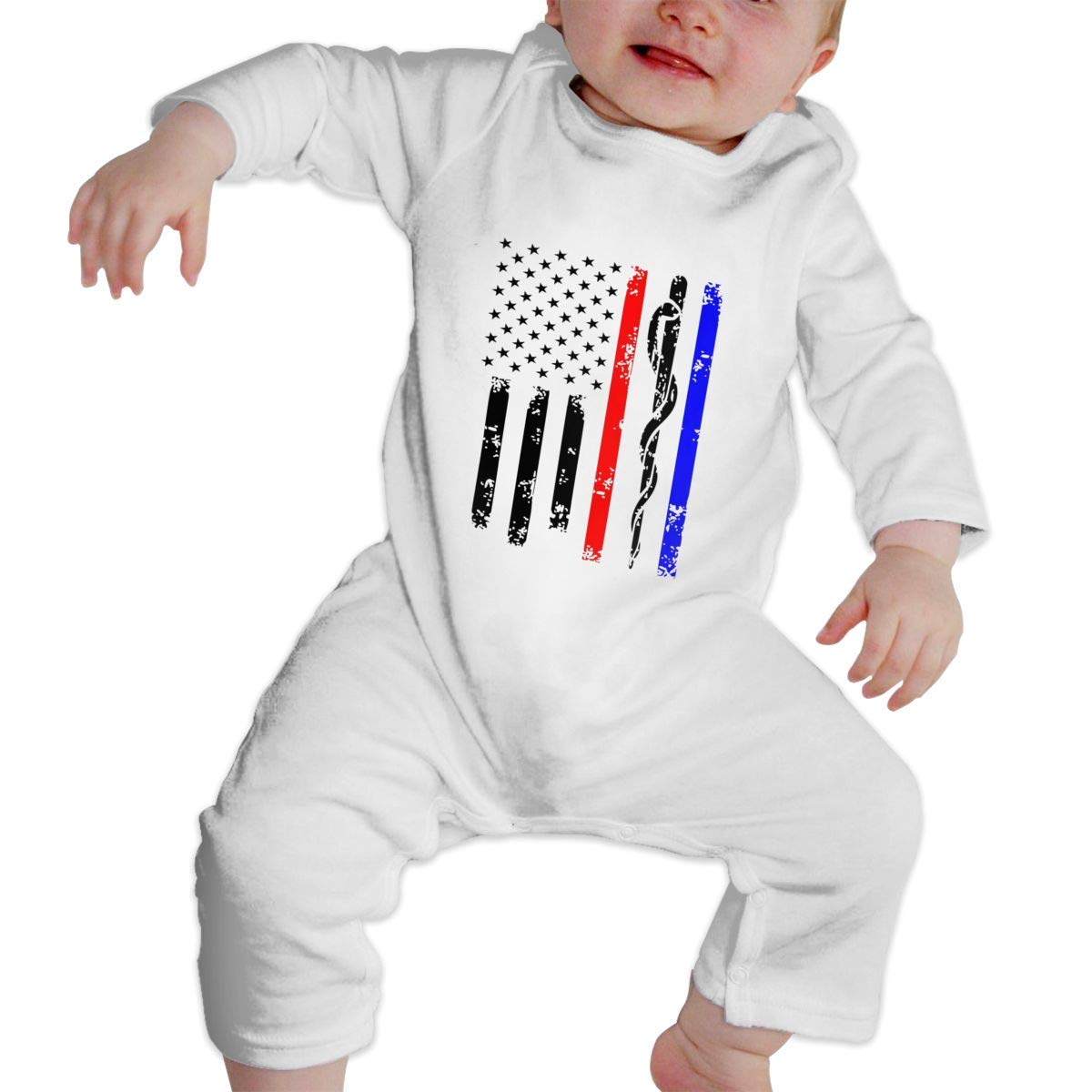 MiNgosRY Police /& Firefighter /& EMT Flag Newborn Baby Long Sleeve Bodysuits Rompers Outfits