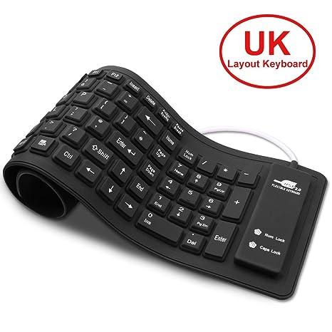 Teclado portátil suave de silicona, teclado USB con cable enrollable, teclado de