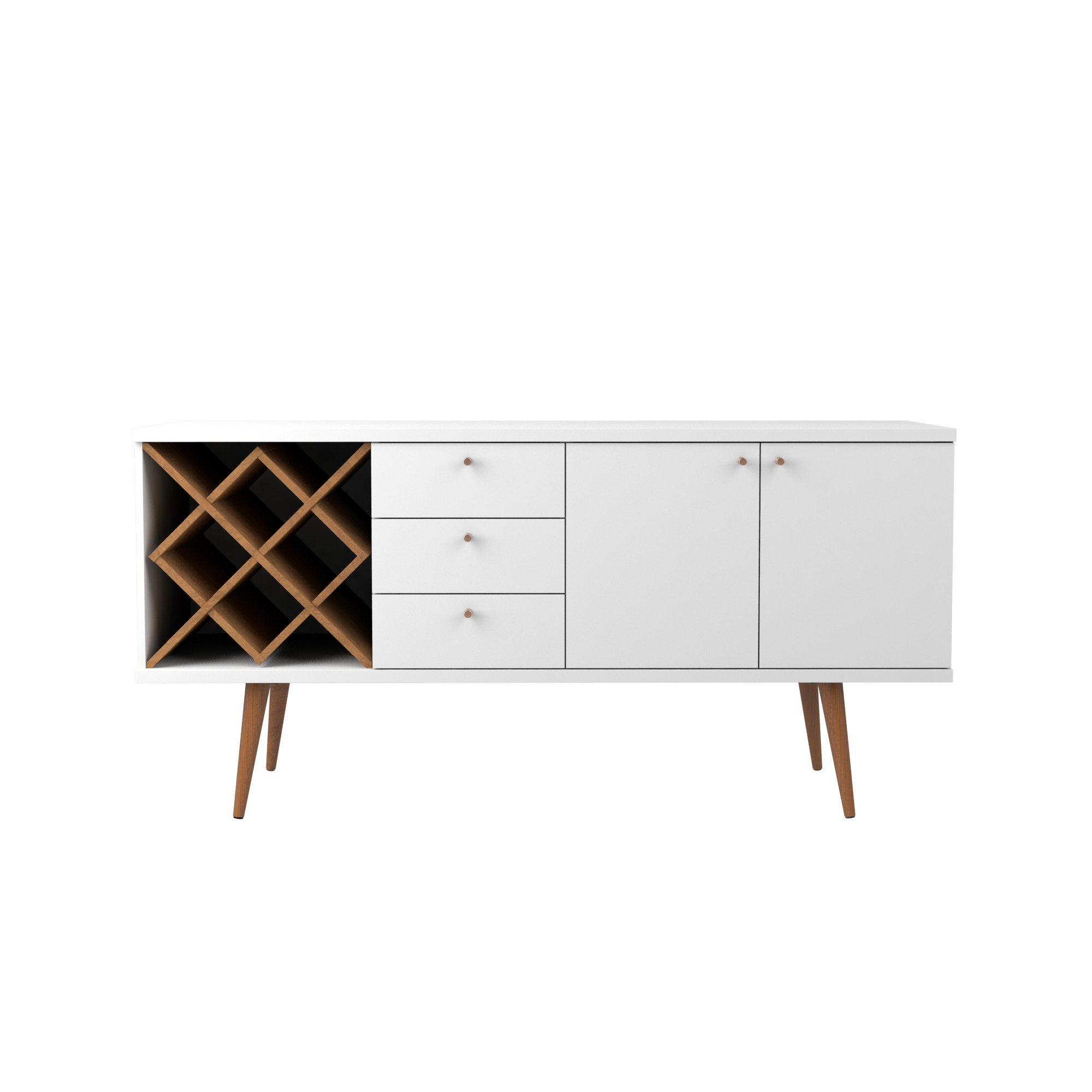 Manhattan Comfort Utopia Collection Mid Century Modern Sideboard Buffet Stand With 4 Bottle Wine Rack, Cabinet and 3 Drawers, Splayed Legs, White