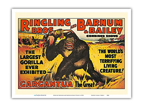Gargantua, the Great Gorilla - Ringling Brothers and Barnum & Bailey Circus - Greatest Show on Earth - Vintage Circus Poster c.1970s - Master Art Print - 9in x ()