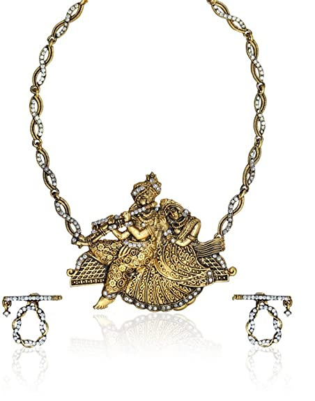 Zaveri Pearls Gold Non-Precious Metal Radhakrishna Temple Necklace & Earrings Set For Women-Zpfk1018 Jewellery Sets at amazon