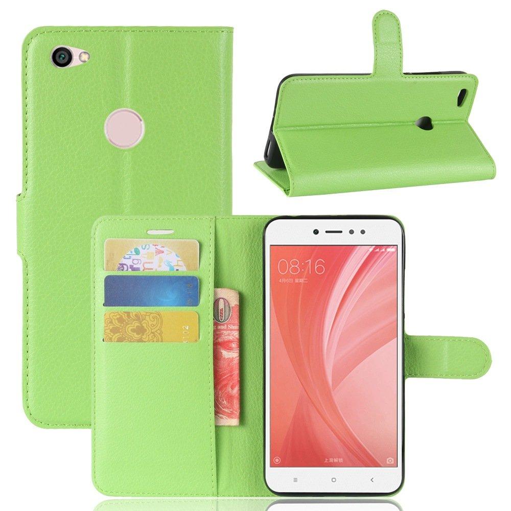 Guran® Funda de Cuero PU Para Xiaomi Redmi Note 5A Smartphone Función de Soporte con Ranura para Tarjetas Flip Case Cover Caso-verde