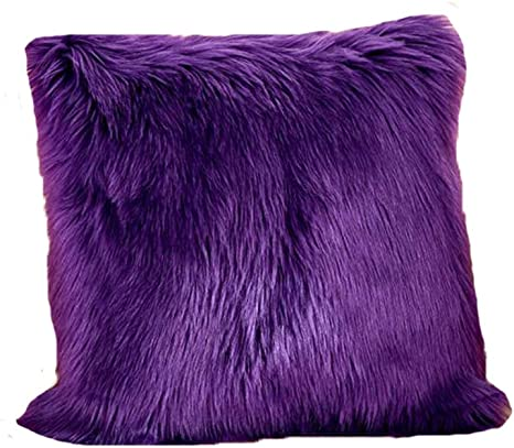 fluffy purple pillow cover