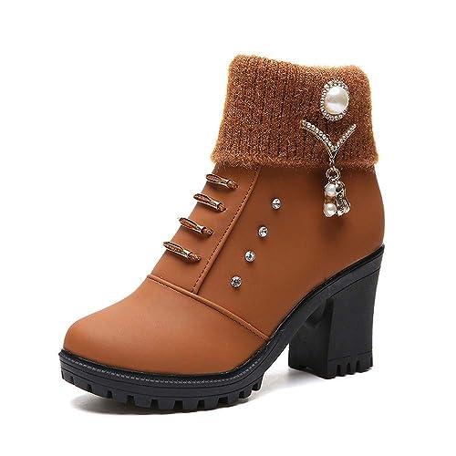 Zapatos Invierno Mujer,Beikoard 2018 Mujeres Cuadradas De Tacón Alto De Cristal Tobillo Shoes Zapatos Botas Cortas Botín,Botas De Aguja Desnuda Botas Shoes ...