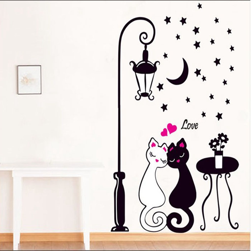 Amazon hatop creative cat lovers wall art decal sticker amazon hatop creative cat lovers wall art decal sticker removable mural home decor baby amipublicfo Gallery