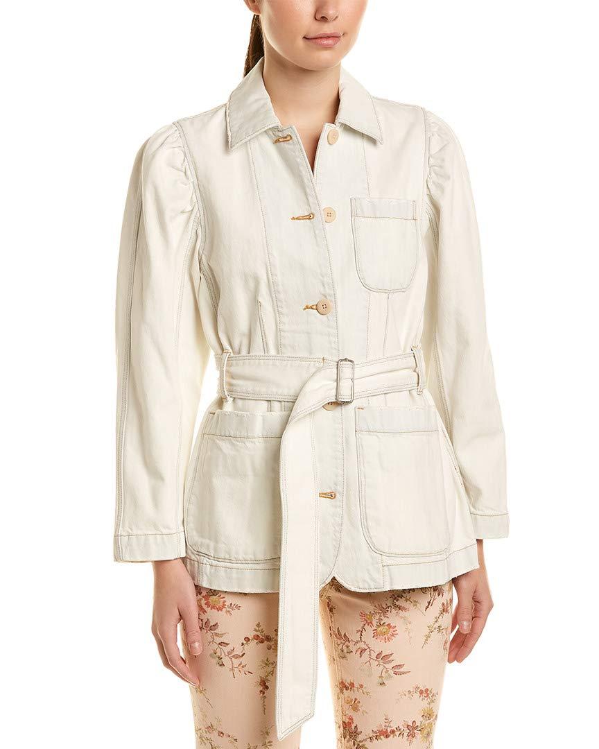 LA VIE Womens Rebecca Taylor Belted Denim Jacket, Xs, White