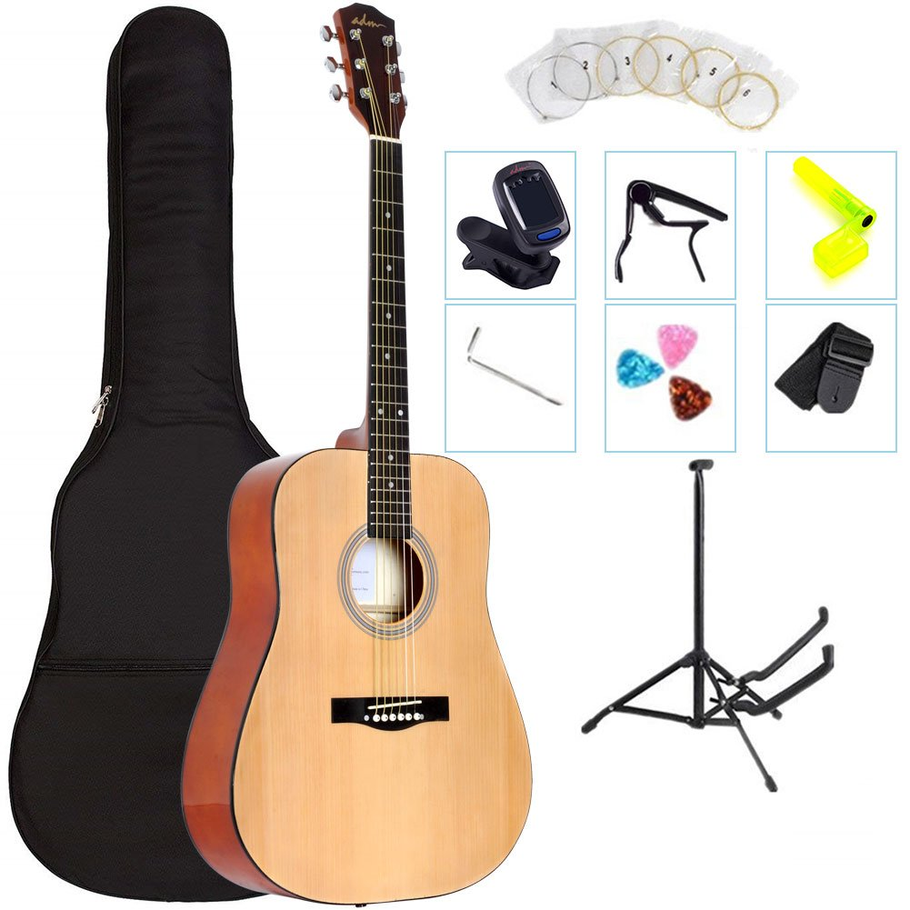 ADM 41 Inch Full Size Dreadnought Acoustic Guitar Kit/Bundle with All You Wanted, Natural Gloss by ADM