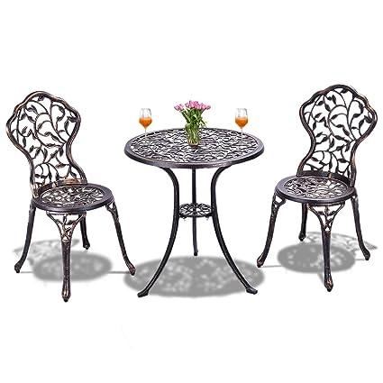 Gartenmöbel Eisen Bistroset 1 Tisch 2 Klappstühle  Antik Sitzgruppe Robust