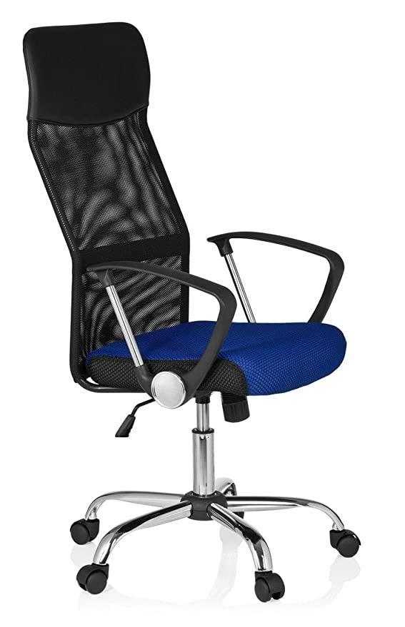 HJH Office Orion Net 685111 Silla de oficina Unisex adulto Multicolor (Negro/Azul) 82x20x59 cm