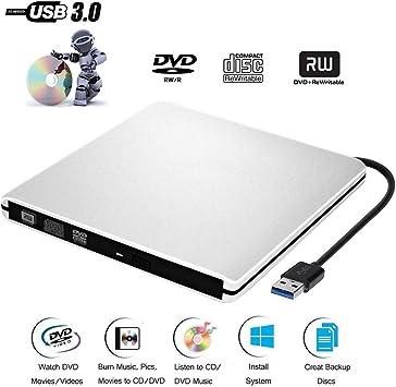 DVD CD Externo Jugador de Grabadora CD-ROM USB 3.0 CD/DVD-RW Uso ...