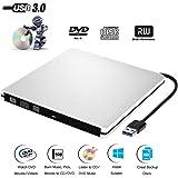 CD DVD Lecteur Graveur Externe USB3.0 Ultra Slim Portable,Graveur Externe Drive CD DVD +/-RW , pour Apple MacBook, Pro, Air, toutes les systèmes Mac OS, Windows 10, ,8, 7,XP, Vista(Argenté)