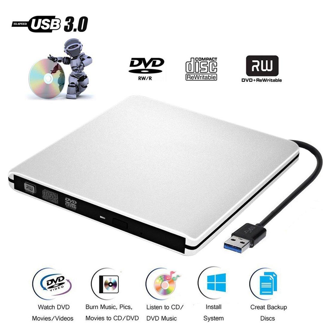 DVD CD Externo Jugador de Grabadora CD-ROM USB 3.0 CD/DVD-RW Uso de Portátil/Computadora/Macbool/ Mac OS / Vista y Windows XP / 10/8/7: Amazon.es: ...