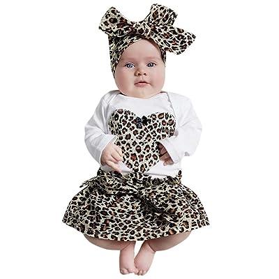 3PCS/Set Infant Outfits,Matoen Baby Girl Heart Romper Tops+Leopard Skirt with Headband