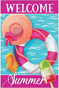Morigins Welcome Summer Funny Swimming Pool Double Sided Decorative Garden Flag 12.5x18 inch
