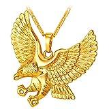 Brave Man Hawk Necklace 18K Gold Plated Eagle Pendant Necklaces