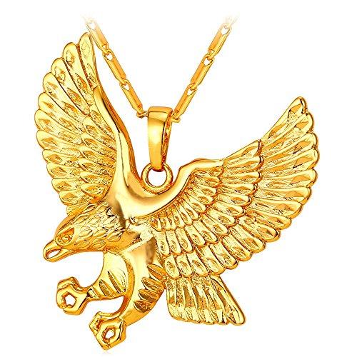 U7 Brave Man Hawk Necklace 18K Gold