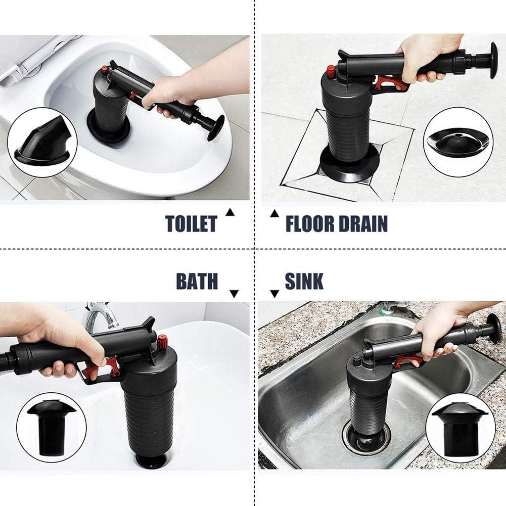 Puissant Drain Piston Pipe Bouch/é Ensemble Doutils avec Ventouses Pompe De Nettoyage pour Toilettes Cuisine Salle De Bains Dowoa Drain Pump Drain Cleaner