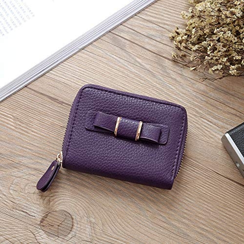 Womens Bowknot Wallets Handbags Leather Purses Clutch Chain Fashion Money Clip (Color - Purple)