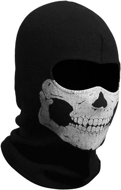 Full Face Skeleton Ghost Skull Face Mask Hood Biker Halloween Props Balaclava US