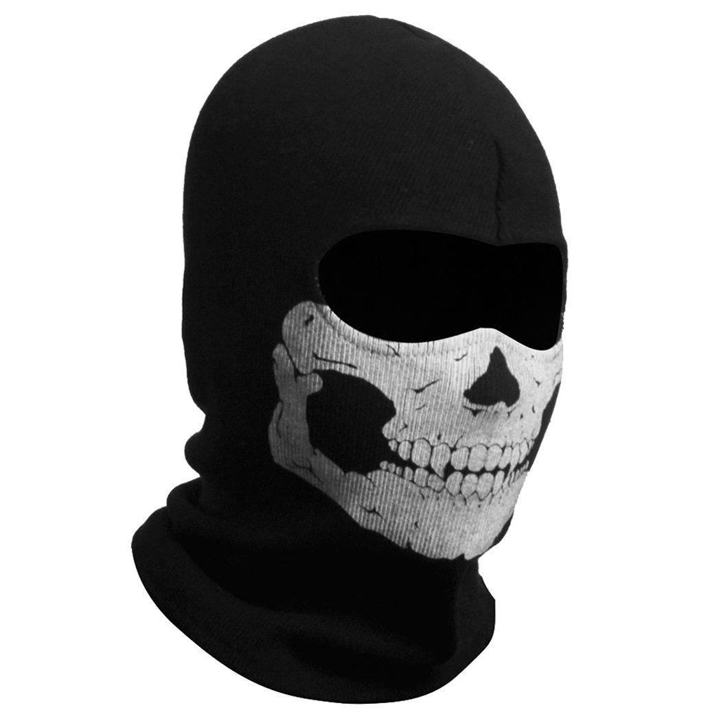 Nuoxinus Black Balaclava Ghosts Skull Full Face Mask for Cosplay Party Halloween Outdoor Motorcycle Bike Cycling Skateboard Hiking Skiing Snowmobile Snowboard