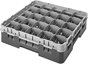 Cambro 25S318-151 3-5/8-Inch Camrack Polypropylene Stemware and Tumbler Glass Rack with 25 Compartments, Full, Soft Gray
