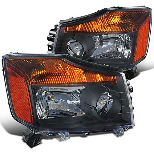 Nissan Armada Diamond (Spec-D Tuning 2LH-TIT08JM-RS Nissan Titan Pickup Armada Amber Black Diamond Headlights)
