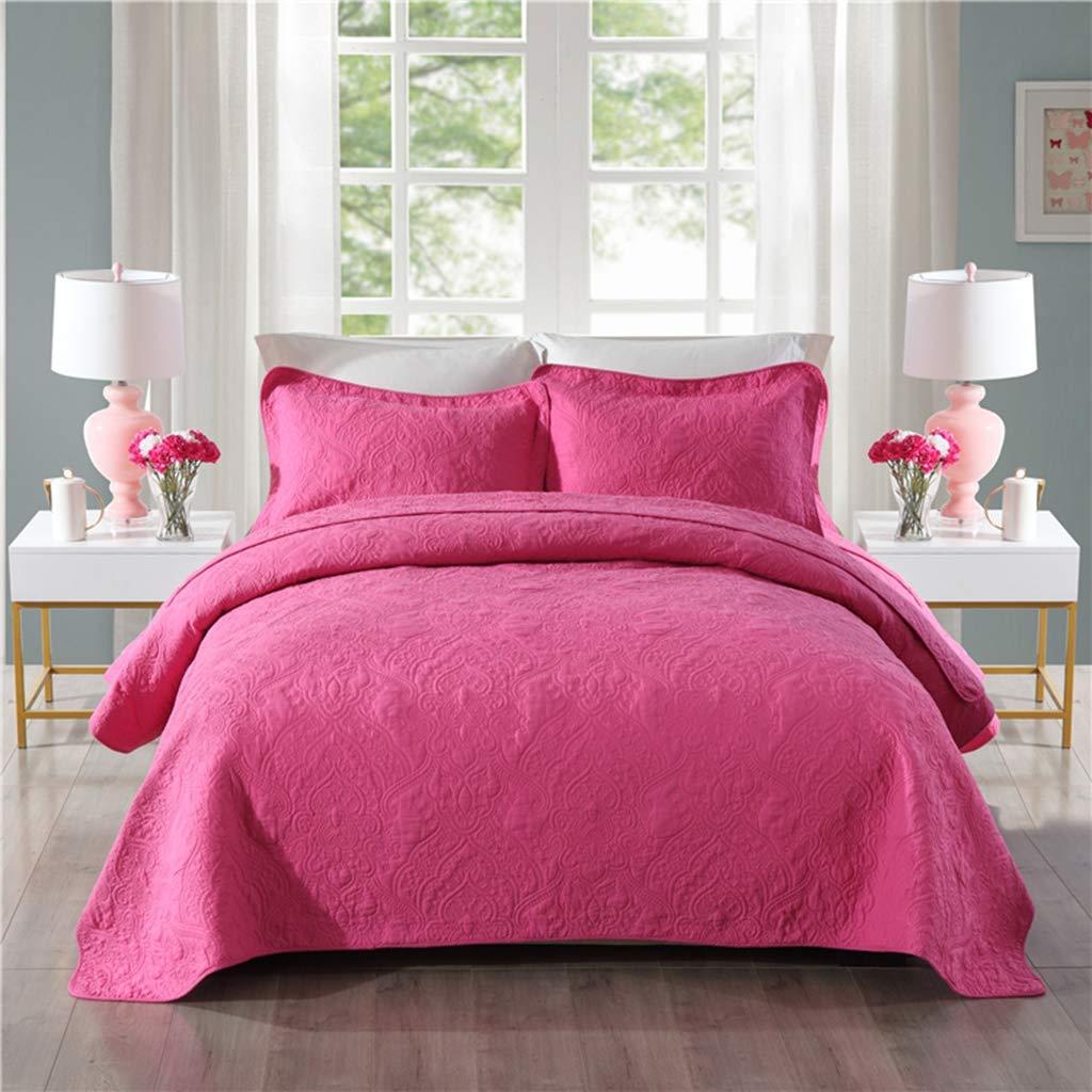 コットンキルトベッドカバー3ピースセット、高温洗浄刺繍キルティングエアコンキルト夏毛布コットンベッド用品セット、ピンク (230 * 250CM) B07L1H2SPH