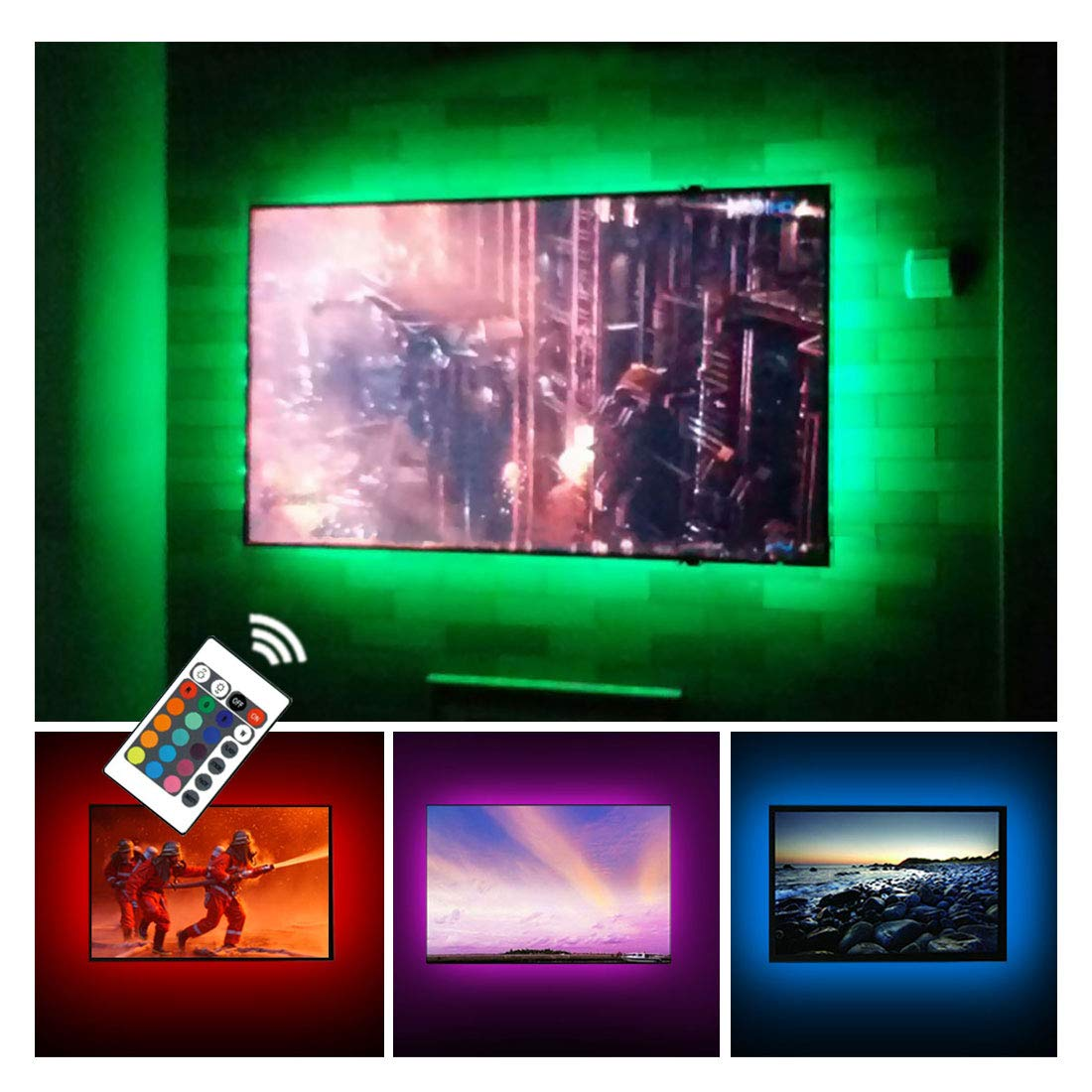 USB TV Backlight RGB LED Neon Accent Lights Strips for 32 to 43 inch HDTV Bias