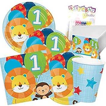 Boys Birthday Theme 1st Party Supplies Pack Serves 16