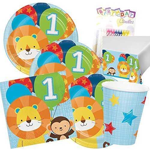One is Fun ! Boys Birthday Theme 1st Party Supplies Pack (Serves-16) Dinner Plates, Luncheon Napkins, Cups and Table Cover - First Zoo Party Supply Tableware Set Kit Includes Birthday Candles ()