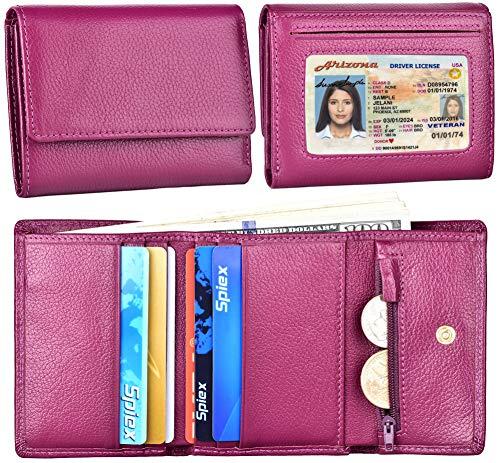 Outside Tri Fold Wallet - Women Small Wallet Genuine Leather Wallets Trifold Slim Credit Card Holder (Purple)