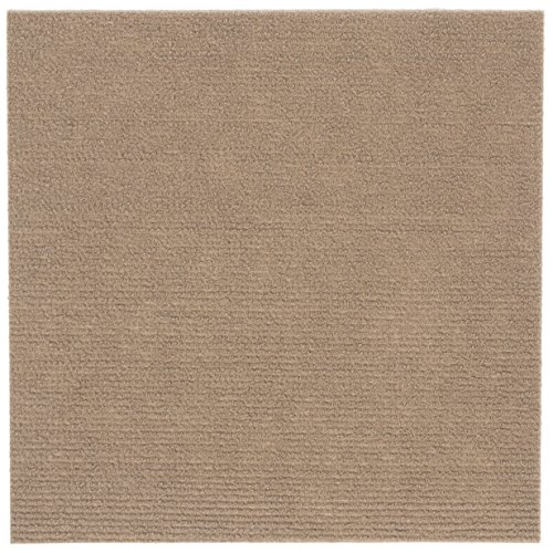Peel and Stick 12x12 Self Adhesive Do It Yourself (DIY) Ribbed Carpet Floor Tiles for Residential & Commercial Carpet Squares for Flooring Use (Tan)