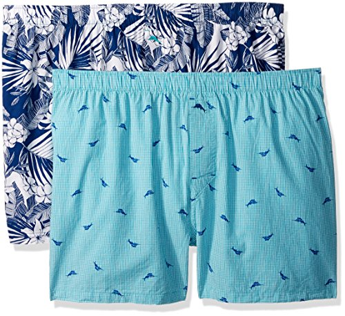 Tommy Bahama Men's 2 Pack Woven Boxer Set, All Over Floral Leaves/Marlin (Tommy Bahama Leaf)