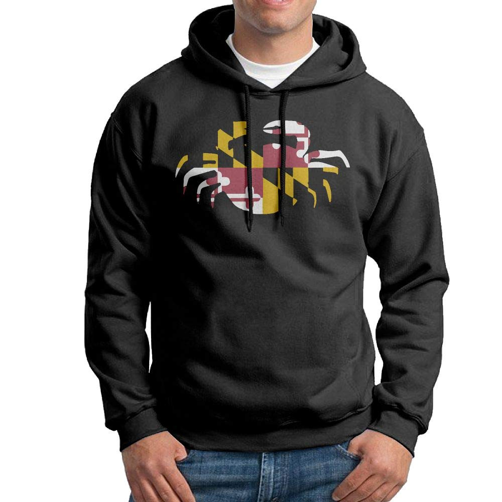 Casual Maryland Flag Crab Cotton Coat for Mens Vtw24i-5 Mens Pullover Hoodie