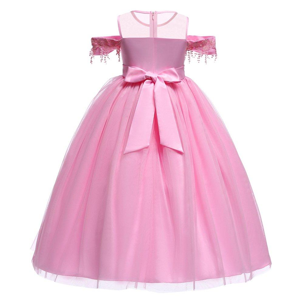 ibtom castillo Danza Niñas Encaje de Dama Pink De Honor Vestidos ...