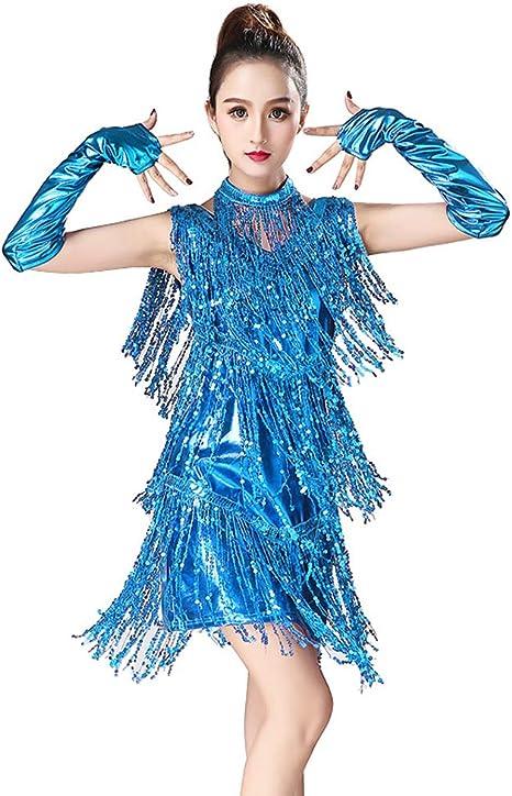 Vestido Baile Latino,Vestido Baile Latino NiñA,Lentejuelas Mujer ...