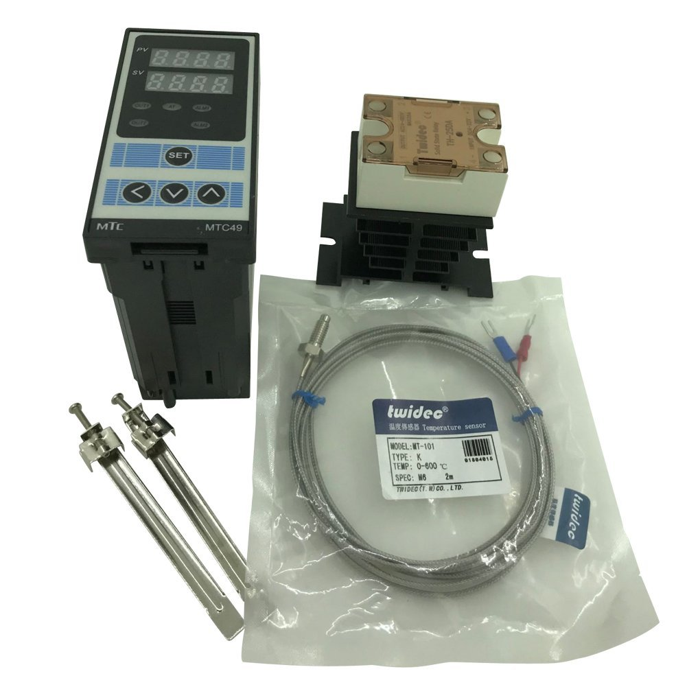 Twidec MTC49 PID Temperature controller, 90-240VAC, 0-400 °C, Input: K, Output: SSR(DC12V);K screw probe, probe lead length 2M(78.74 inches);TH-25DA SSR 25A;Black heat sink