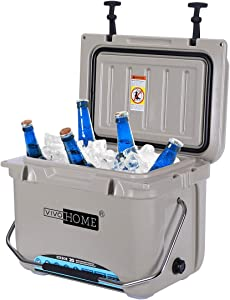 VIVOHOME 22 Quart Ice Chest, Heavy Duty Insulated Beverage Can Cooler with Carry Handle for Camping Fishing Trips, FDA Approved, Brown