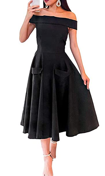 3d814f2059 Women Evening Gown Dress Sexy Off Shoulder Boat Neck Ruffle Party Dress  with Pockets (Black