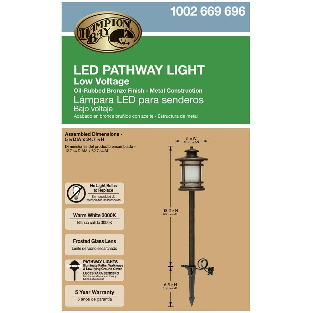Amazon.com : Hampton Bay 3-Watt Oil Rubbed Bronze Outdoor Integrated LED Landscape Path Light with Frosted Shade, 3000k Bright White Light with 100Lumens ...