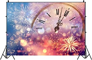 Leowefowa 7x5ft New Year Clock Countdown Backdrop for Party Decor Vinyl Sparkling Fireworks Dreamlike Bokeh Haloes Photography Background Child Adult New Year Photo Shoot Indoor Decors Wallpaper