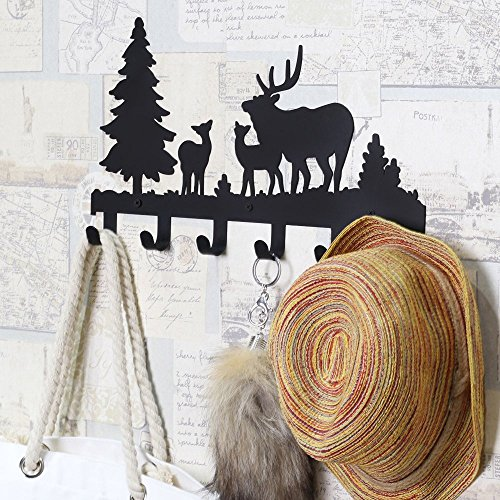 Deer Wall Hook (CoolPlus Metal Wall Mounted Coat Hooks, Crossbody Bag Hanger, Umbrella Stand, Purse Rack, Key Holder, Decorative Clothes Hat Organizer, Perfect for Foyers, Entryway, Hallway, Deer Pattern Black Finish)