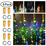 Glückluz Luces para Botellas de Vino 20 LEDs 1M Luces LED Pilas Mini Serie Navidad Decoración luces led Alambre de Cobre Flexible Romántico Cadena Luces Impermeable Decoración para Cosas de DIY Cumpleaños Fiestas Bodas (6 PACK)